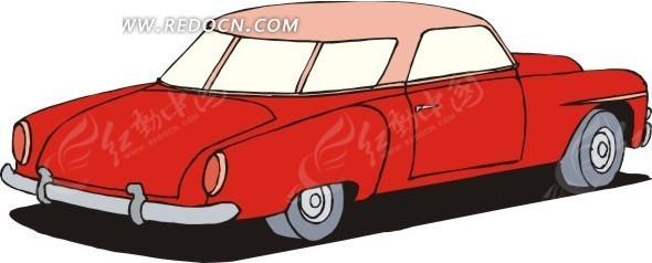 手绘插画红色小汽车