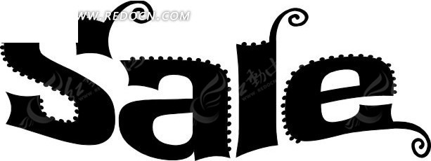 锯齿边英文艺术字体设计免费下载图片