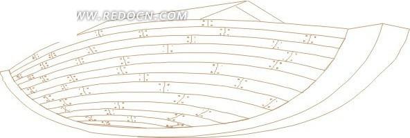 线描木质小船