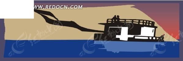手绘插画海面上的油轮矢量图eps免费下载_交通工具素材