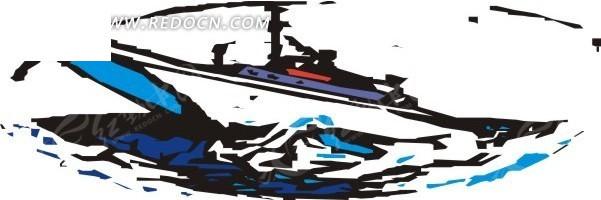 个性手绘海中的船矢量图_交通工具