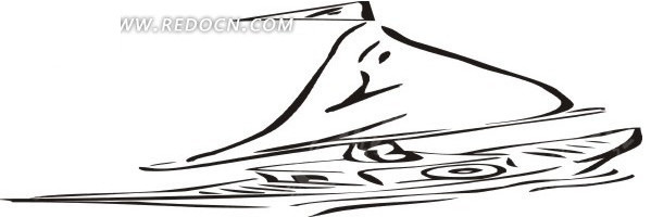 手绘线描小帆船
