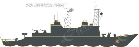 手绘插画黑色的轮船