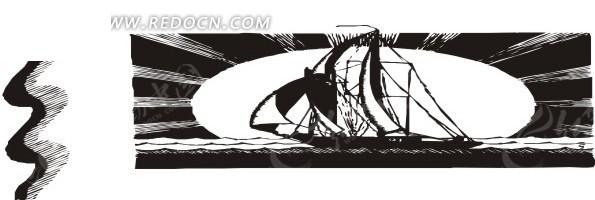 手绘插画黑色的大帆船