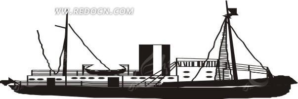 手绘插画黑色的油轮
