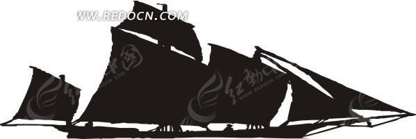 手绘黑色的大帆船剪影