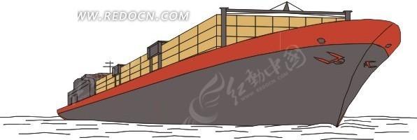 手绘插画灰色船底的货轮