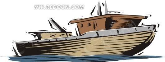 手绘一艘褐色的小木船