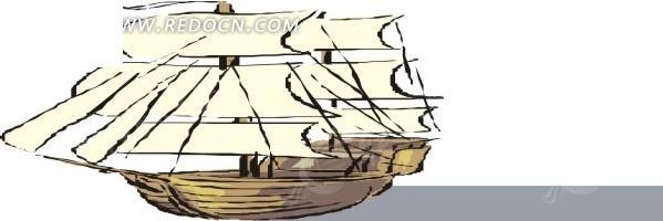 手绘古代帆船