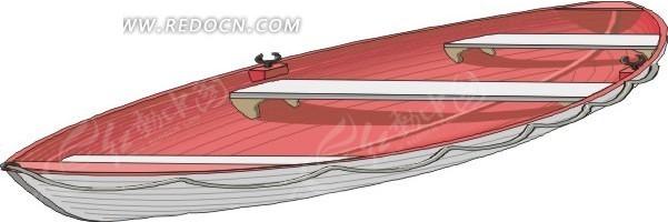手绘一艘红色的小木船