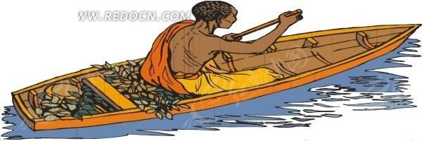 手绘划着小船的黑人
