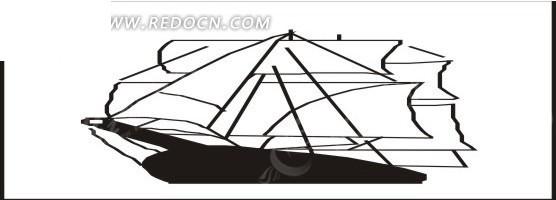 大帆船手绘素材