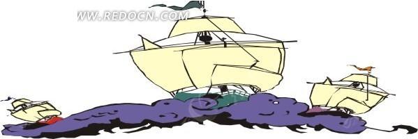 手绘海面上的几艘帆船