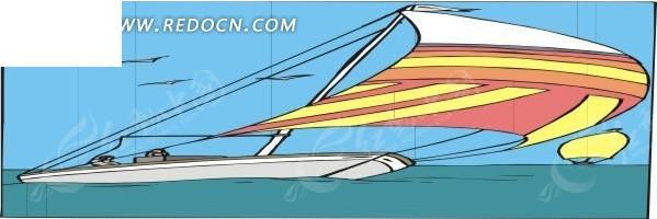 手绘插画彩色风帆的小船
