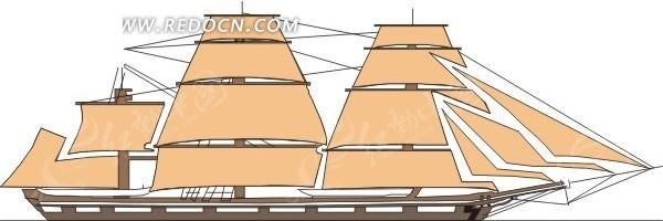 一艘多桅大帆船手绘素材图片