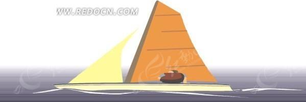 海上的小帆船手绘素材