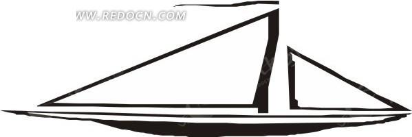 儿童手绘黑色的小帆船