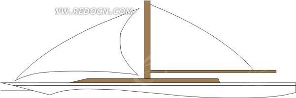 儿童绘画白色的小帆船