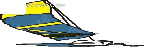 插画彩色风帆的帆船
