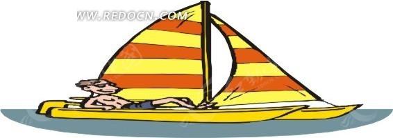 手绘躺在帆船上的人