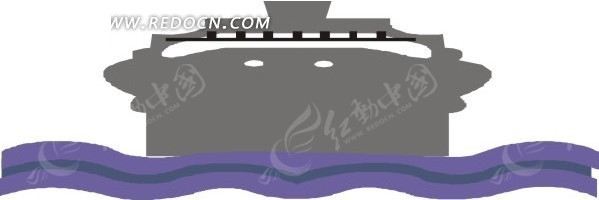 海上黑色油轮正面手绘矢量图_交通工具