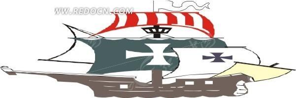 手绘十字架旗帜的帆船