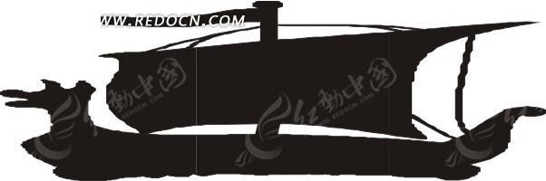 手绘古代帆船剪影