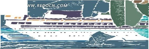 手绘插画海上的白色游轮eps免费下载_交通工具素材