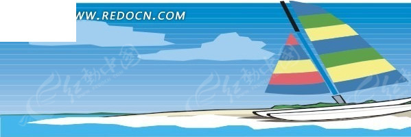 沙滩上的手绘彩色帆船