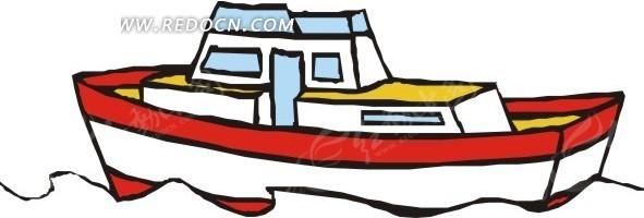 手绘红白相间小船