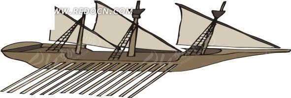 手绘褐色三桅帆船eps素材免费下载(编号1681973)_红动