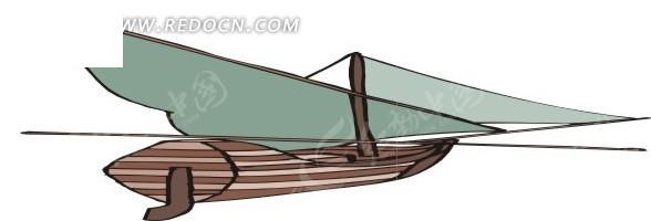 手绘蓝色木船矢量图_交通工具