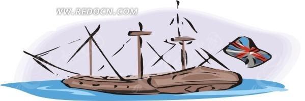 手绘英国三桅小船