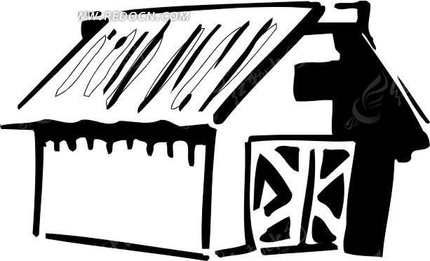 简单的屋子黑白画图片高清图片