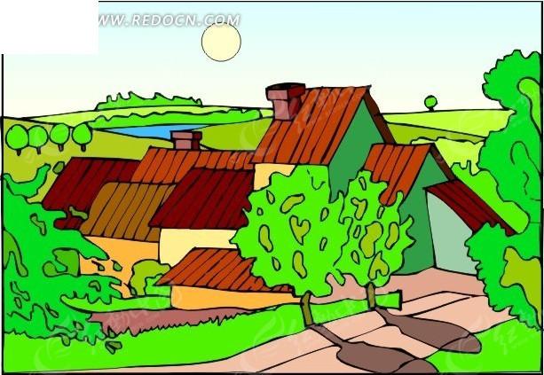 98年村庄动漫手绘图片
