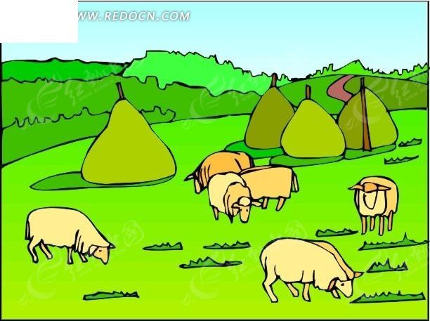 手绘草原绵羊和草包
