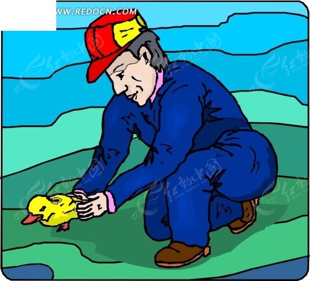 蹲着抓小鸭子的人其他素材免费下载_红动网