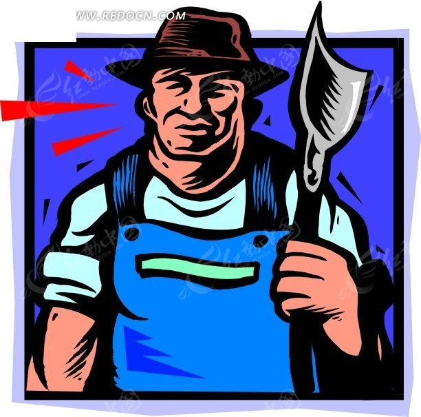 农夫形象_免费素材 矢量素材 矢量人物 卡通形象 手绘拿着农具的农夫  请您分