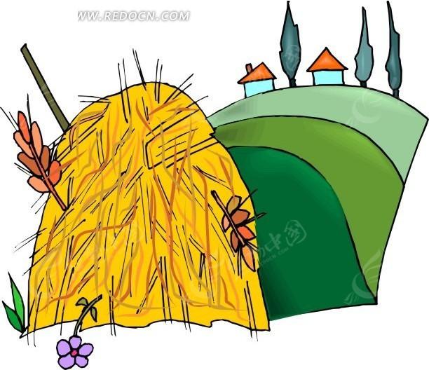 麦秸垛和小花树枝房子树木