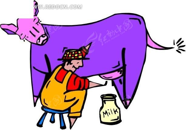 手绘挤牛奶的人
