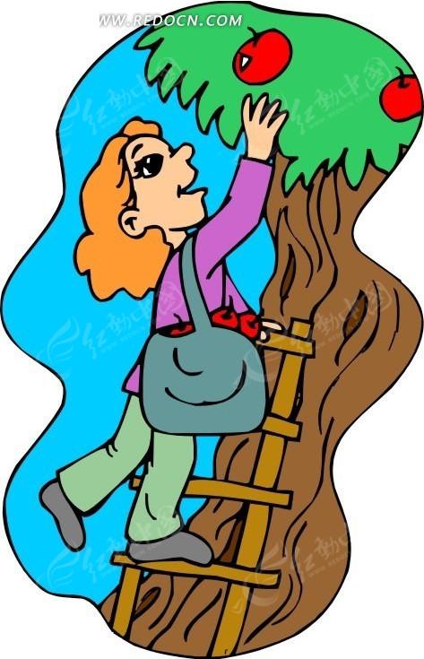 手绘摘苹果的女孩