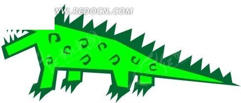手绘抽象的鳄鱼