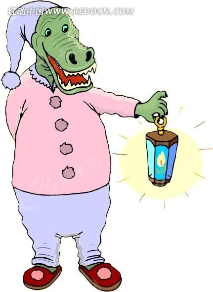 手绘穿着睡衣的鳄鱼矢量图_卡通形象