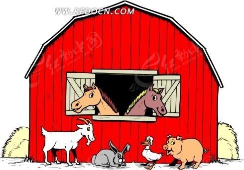 手绘农庄里的小动物