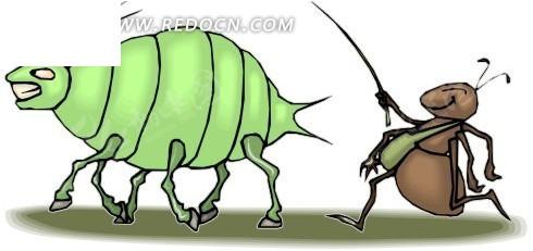 蚂蚁 蚜虫 卡通画 插画 手绘 矢量素材 动物图片 卡通形象 卡通人物