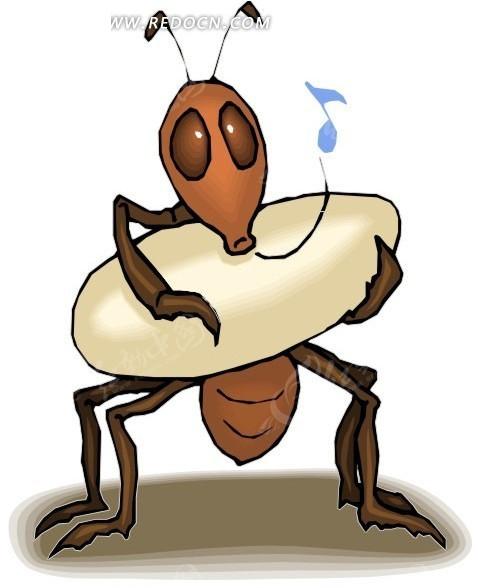 手绘抱着东西吹口哨的蚂蚁