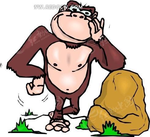 手绘靠在石头上的猴子矢量图