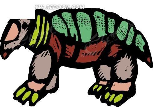 免费素材 矢量素材 矢量人物 卡通形象 > 手绘一只彩色的食蚁兽  免费