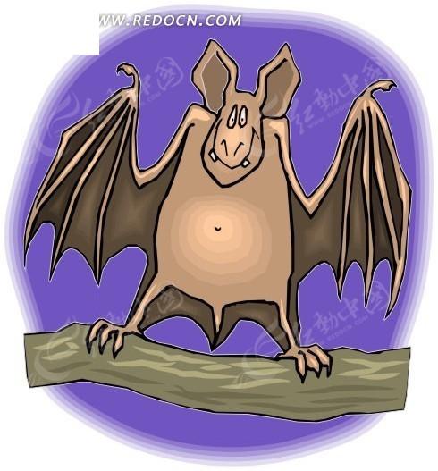 手绘站立在树枝上的蝙蝠其他免费下载_卡通形象素材