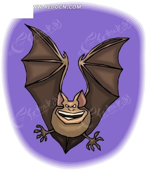 免费素材 矢量素材 矢量人物 卡通形象 手绘紫色背景上的一只蝙蝠  请